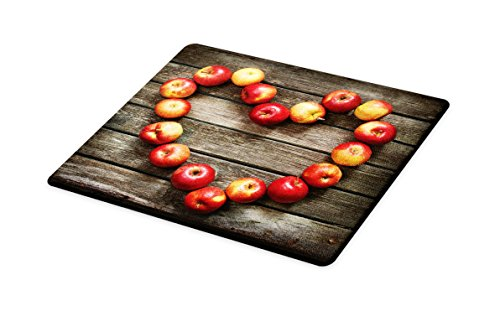 - Lunarable Rustic Cutting Board, Rustic Wooden Surface Fresh Ripe Apples Artistic Veggies Fruit Healthy Living Theme, Decorative Tempered Glass Cutting and Serving Board, Small Size, Brown Red