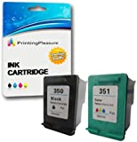 Printing Pleasure 2 XL (FULL SET) Remanufactured Ink Cartridges Replacement for HP 350XL 351XL Photosmart C4280 C4380 C4480 C4485 C4580 C5280 D5360 Deskjet D4260 D4360 - Black/Colour, High Capacity