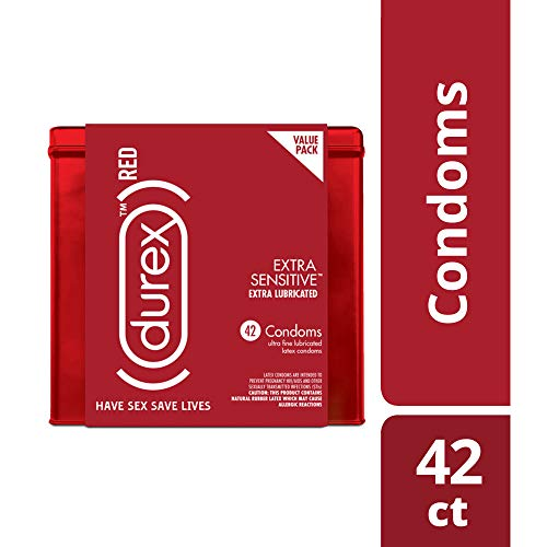 - Condoms, Natural Lubricated Latex, Extra Sensitive, Ultra Fine, Durex RED 42 Count, HSA Eligibles