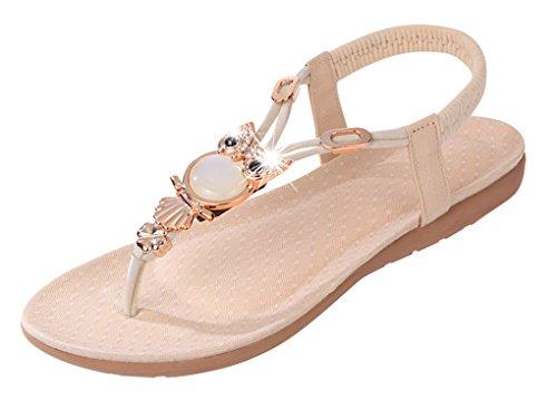 NEWZCERS - Sandalias de vestir de sintético para mujer crema