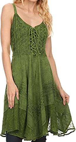 Sakkas 161113 - Calleea Mid Length Embroidery Sleeveless Spaghetti Strap Corset Batik Dress - Green - 1X/2X