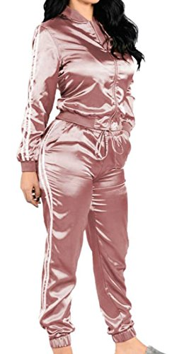 ARTFFEL Womens Fashion Outfit 2 Pieces Zip Up Bodycon Trousers Sweatsuits Set Pink US L