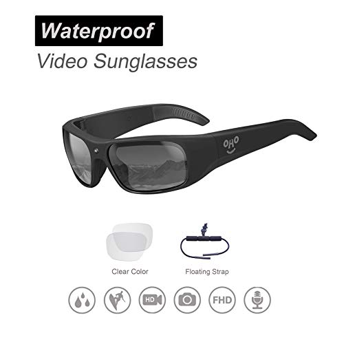 OHO sunshine Waterproof Video Sunglasses, 1080P HD Outdoor Sports Action Camera with 32GB Built-in Memory and Polarized UV400 Protection Safety Lenses,Unisex Sport Design Camera Sunglasses Mp3 Player