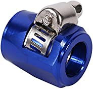 AN6 15mm Aluminum Hose Line End Finishers Fuel Oil Water Pipe Clamp Clip(Blue)