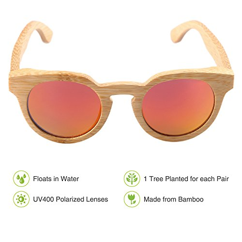 2d9e8075b9 Amazon.com  Vanmay Round Retro Mirror Lenses UV Protection Polarized Unisex Bamboo  Sunglasses (Red