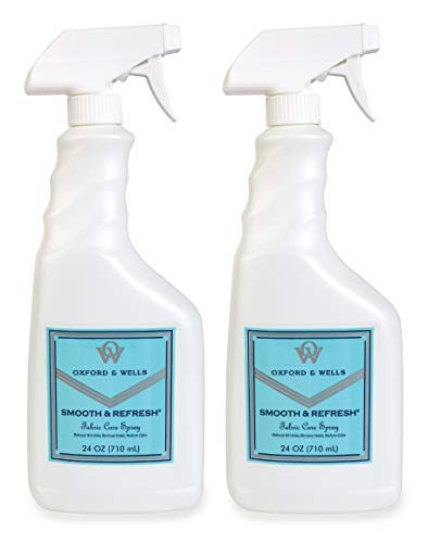 Oxford & Wells Smooth & Refresh 24-ounce (Dorm Room Size) Non-Ironing, Non-Aerosol Wrinkle Relaxer, Static Remover, Odor Reducer Fabric Care Spray (Pack of 2)