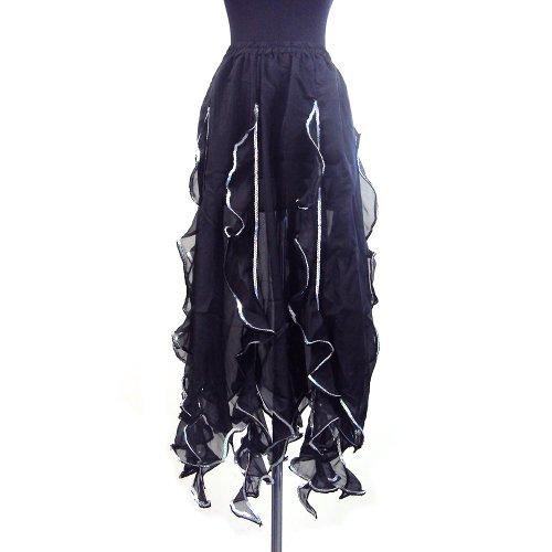 Tango Performance Costumes (Performance Belly Dance Tango Salsa Long Chiffon Sequin Edge Ruffle Skirt - BLACK SILVER)