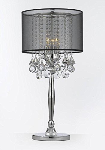 Silver Mist 3 Light Chrome Crystal Table Lamp with Black Shade Contemporary Modern Desk,Bedside,Living Room,For Bedroom,Buffet (Contemporary Buffet Lamps)