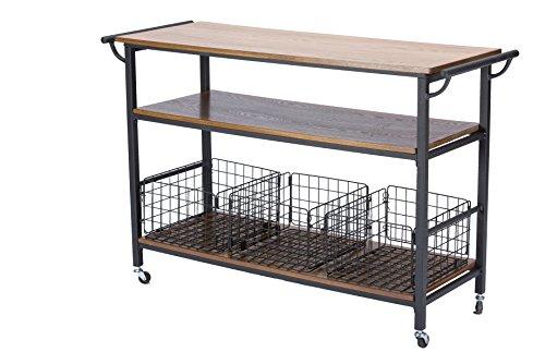 Baxton Studio Lancashire Wood and Metal Kitchen Cart, Brown
