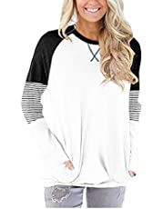 ELF QUEEN Women's Long Sleeve Sweatshirt Plain Color Round Neck Tunic Tops with Front Pocket