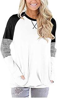 ELF QUEEN Women's Long Sleeve Sweatshirt Plain Color Round Neck Tunic Tops with Front Po