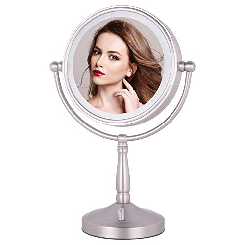 NIESO 8″ Lighted Makeup Mirror, 10X Magnifying Mirror Brightness Adjustable, Cord & Cordless