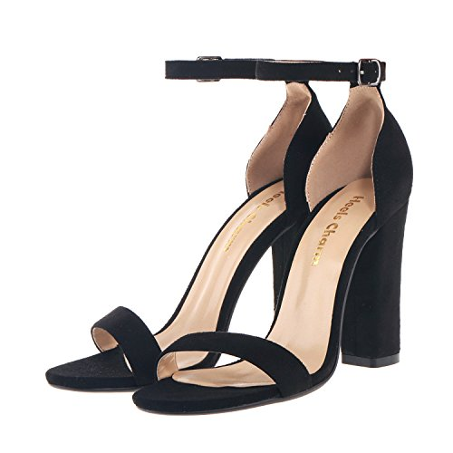 High Dress Sandal Open Toe for Strappy Black Sandals Ankle Velvet Heel Birthday Party Chunky Strap Women's Shoes Office Wedding Evening 1wznRqEvR