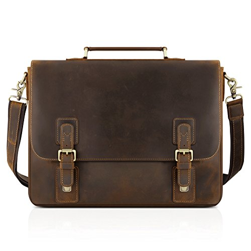 Kattee Mens Leather Satchel Briefcase 16 Inch Laptop Messenger Bag