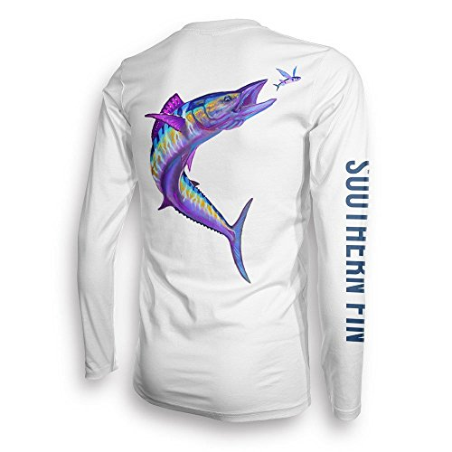 Performance Fishing Shirt Unisex Southern Fin UPF 50 Dri Fit Long Sleeve Apparel - Medium, Wahoo ( wahoo_m ) (Fin Performance)