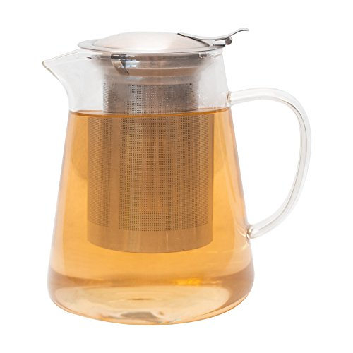 Zenco 32 oz Clear Glass Teapot Pitcher with Extra Fine Brushed Stainless Steel Infuser Filter set, perfect for brewing Loose Leaf and Blooming Tea, Cold Brew and Iced Tea Maker