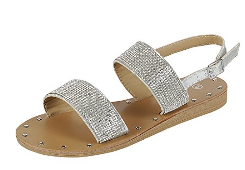 Cambridge Select Womens Open Toe Studded Crystal Rhinestone Beaded 2 Strap Slingback Low Wedge Sandal Silver U1nZ5V2