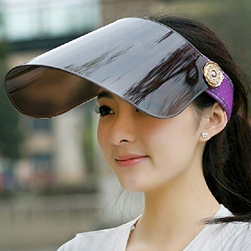 - uv sun visor hat cap women girls big along ride sunscreen summer electric car summer covering her face (beard monochrome purple lenses