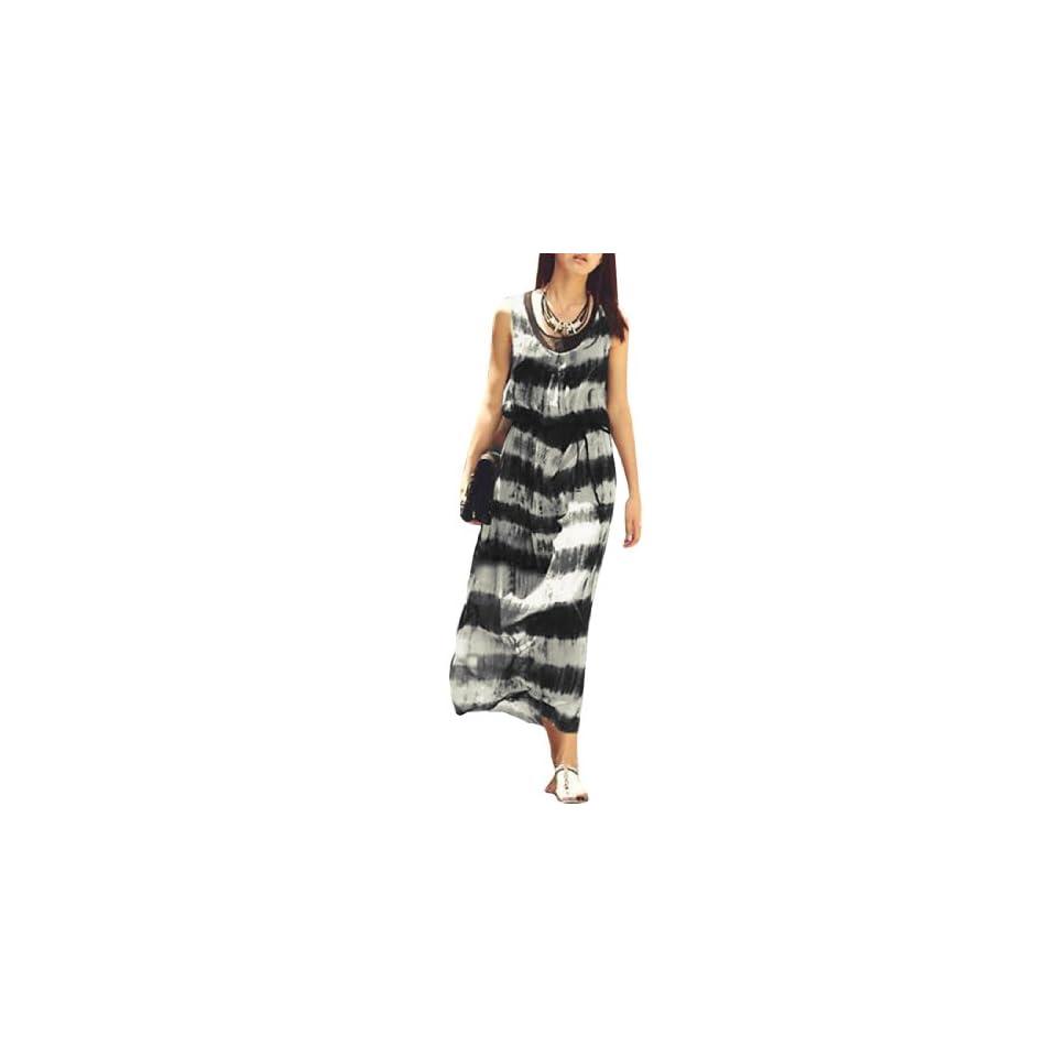 Ladies Tie Dye Stripes Prints Long Dress w Pullover Stretchy Tank Top