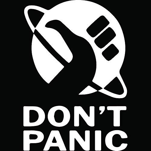 NBFU DECALS Don't Panic (White) (Set of 2) Premium Waterproof Vinyl Decal Stickers for Laptop Phone Accessory Helmet Car Window Bumper Mug Tuber Cup Door Wall Decoration