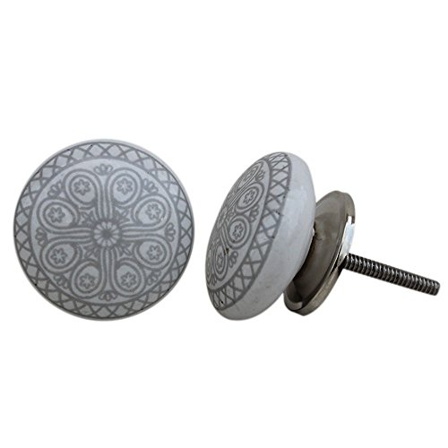 Knob Ceramic Pull - Artncraft 12 pc Door Knobs Hand Printed Ceramic Knobs and Pulls Handle Handmade Silver Finish (Gray & White)