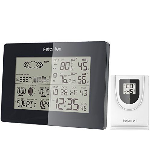 Fetanten Weather Station, Indoor Outdoor Thermometer Wireless Temperature Humidity Monitor with Barometer Weather Forecast Alarm Clock Moonphase Sunset Sunrise (WS005) ()