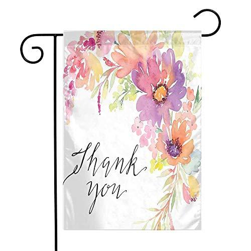 Mannwarehouse Mothers Day Garden Flag Cornflowers Peonies Romance Artistic Watercolor Bouquet Wedding Wreath Print Premium Material W12 x L18 Multicolor