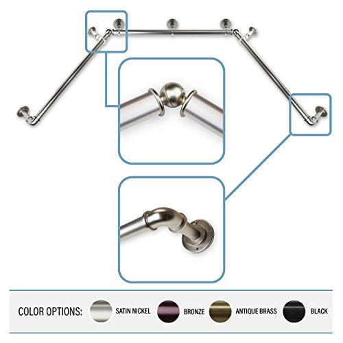 "A&F Rod Decor 1 inch Pipe Bay Window Curtain Rod 23""-41"", 41""-78""- Satin Nickel"
