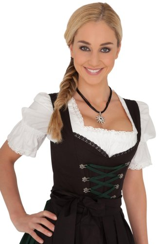 Dirndl Womens Black, 3-Piece Dirndl with Dark Green Lacing Size 36 (Ladies Dirndl)