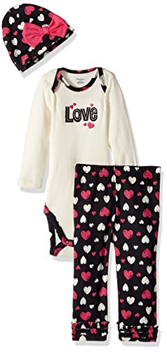 3 Piece Long Sleeve Onesie (Gerber Baby 3 Piece Bodysuit, Cap and Legging Set, love, 3-6 Months)