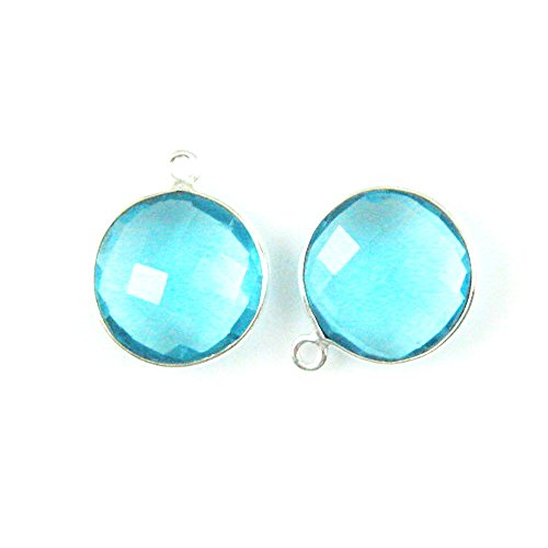 (Gemstone Pendant - Sterling Silver - 14mm Faceted Round Shape - Blue Topaz (Sold Per 2 Pieces))