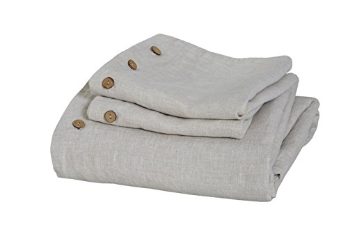 Low Profile Luxury Pure French Linen 3PC Duvet Cover Set in Natural Linen Color (King). Free Linen Kitchen Towel with Order. Shipment Within One Day with Priority Service.