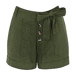 Izhh Womens Casual Pants Plus Size Zipper Elastic Band Hot Pants Lady Summer Shorts Trouser Green