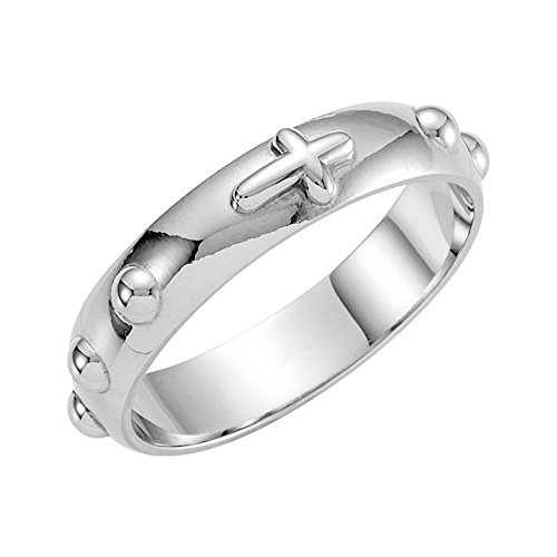 (Bonyak Jewelry 14k White Gold Rosary Ring - Size 9)