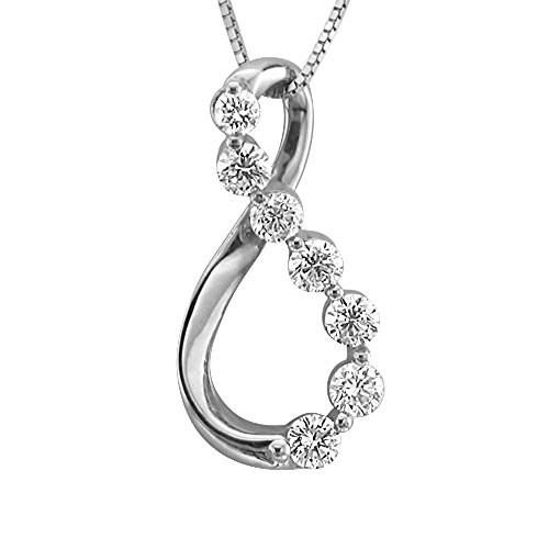 14K White Gold 7 Stone Journey Diamond Pendant Necklace (0.38 Carat) - IGI Certified -