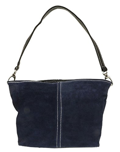 Leather Shoulder Navy Craze Suede London Handbag Womens New Tote Bag Genuine XqxSZFw