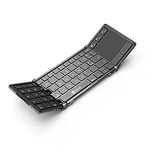 Teclado Bluetooth, Teclado Plegable iClever con Almohadilla Táctil Sensible, Teclado Inalámbrico Triple Plegable de Bolsillo con Estuche Portátil para ...