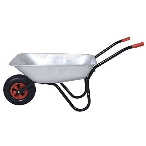 Premium Galvanize Metal Wheelbarrow Cart Inflatable Pneumatic Tyre - Silver - 3 Years Free Guarantee! by supertvproducts14