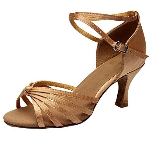 Londony  Women's Satin Latin Dance Shoes Ballroom Performance Shoes Model Ballroom Latin Salsa Dance Shoes Brown