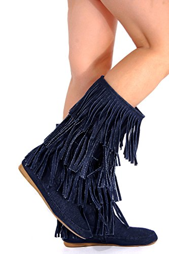 Lolli Couture Forever Link Suede Material Buckle Straps Side Zipper Top Fringe Accent Casual Boots Denim-candice-48 XiWASxejj7