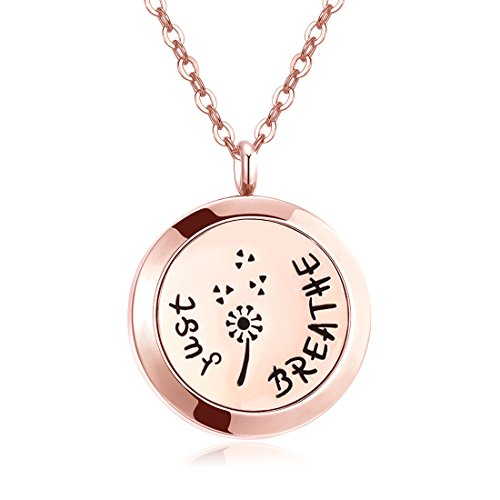 - Mesinya Rose Gold Color Just Breathe Aromatherapy / Essential Oils surgical S.Steel Diffuser Locket pendant Necklace (30mm locket W/24'' Flat Oval Chain)