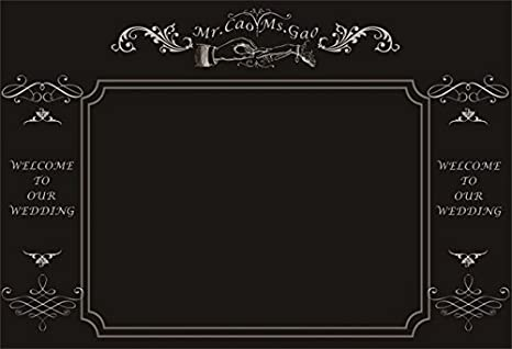 AOFOTO 8x6ft Vintage Wedding Invitation On Chalkboard Backdrop Welcome To Our Photography Background Lovers Couple