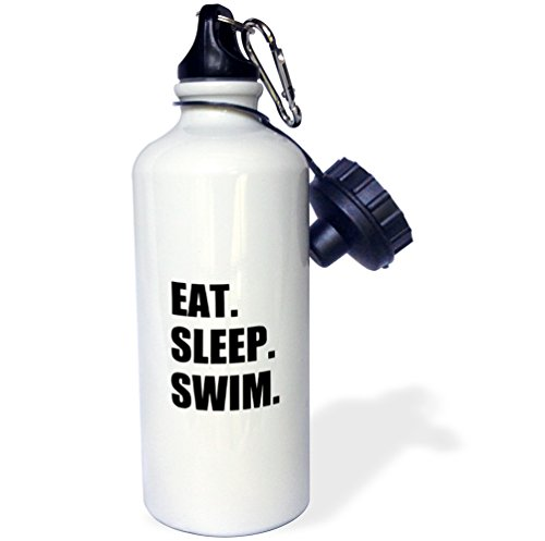 3dRose wb_180447_1 Eat Sleep Swim - swimming enthusiast - swimmer passion - black text - Sports Water Bottle, 21oz ()