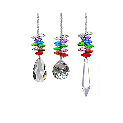 KUPOO Glass Crystal Ball Prism Rainbow Maker Chakra Hanging Suncatcher Window Sun Cacther for Gift Pack of 3??Rainbow Suncatcher (3pcs Multi) ()