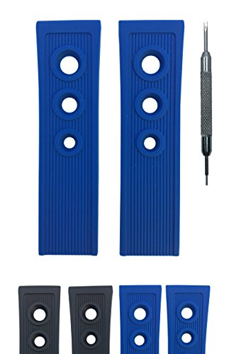 Diver Rubber Watch Strap for Breitling Ocean Racer 201S - Free Spring Bar Tool (22mm, Blue) ()