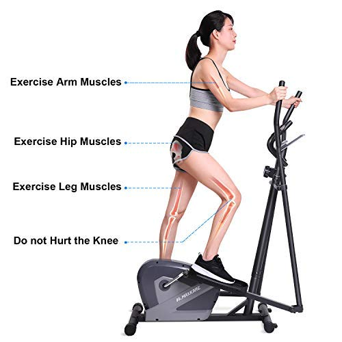 MaxKare Exercise Bike Cardio Training Elliptical Trainers-Portable Upright Fitness Workout Bike Machine,8-Level Magnetic Resistance,LCD Monitor,Heart Rate Monitor,Quiet Driven,Calories Burned by MaxKare (Image #3)