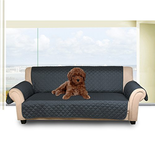 Auralum Reversible Quilted Sofa Furniture Protector for Kids Pets Couch Cover Slip Cover with Elastic Strap ,66' x 65',Sofa, Dark blue/Light blue.