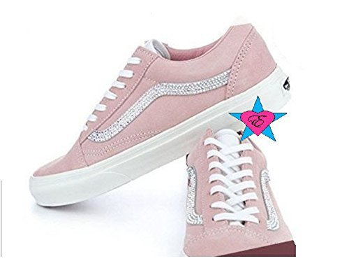 Custom Crystal Bling Rhinestone Pink Women Vans - Luxury Beauty Store 424cfd672