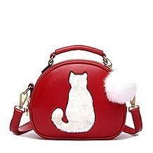 Women's PU Leather Waterproof Cross Body Shoulder Bags Wallet Lucky Cat Handbag (Red)