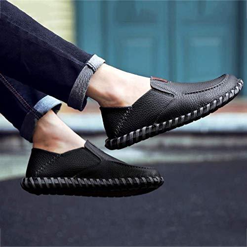 Cuero Casual Otoño Mocasines 42 Estilo Moda Para Tamaño Planos Color Marrón Conducción Británico Negro De Zapatos Hombres Conducción Confortables Calzado YU8wdEqY